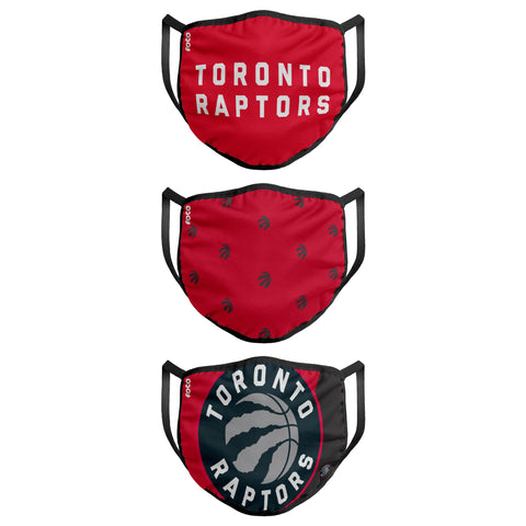 Toronto Raptors NBA Face Mask 3 Pack - Adult