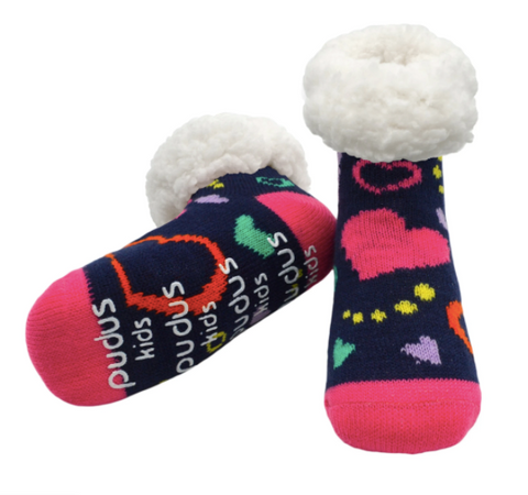 Pudus Classic Slipper Socks Kids (Ages 4-7) - Valentines Styles