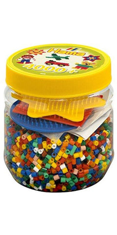 4,000 Midi Hama Beads & Pegboards Yellow Tub