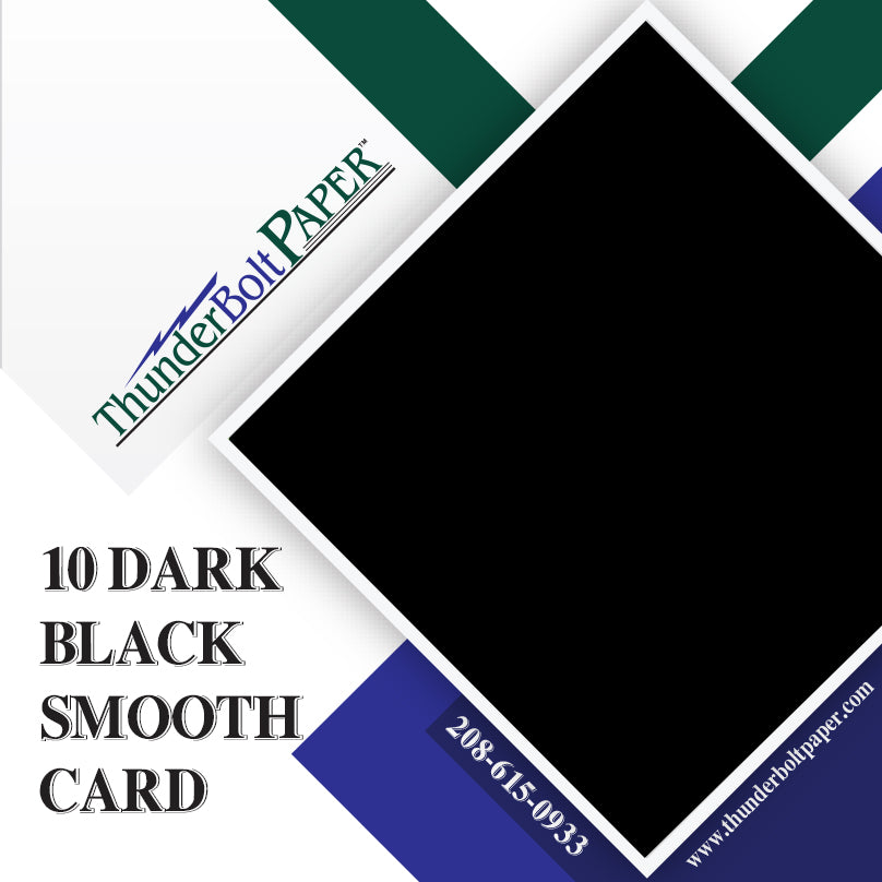 "10 Dark Black Smooth Card/Cover Sheets - 12"" X 18"" Large