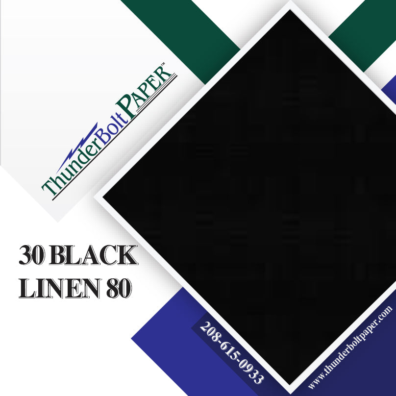 "30 Black Linen 80# Cover Paper Sheets - 11"" X 17"" (11X17 Inches) Tabloid