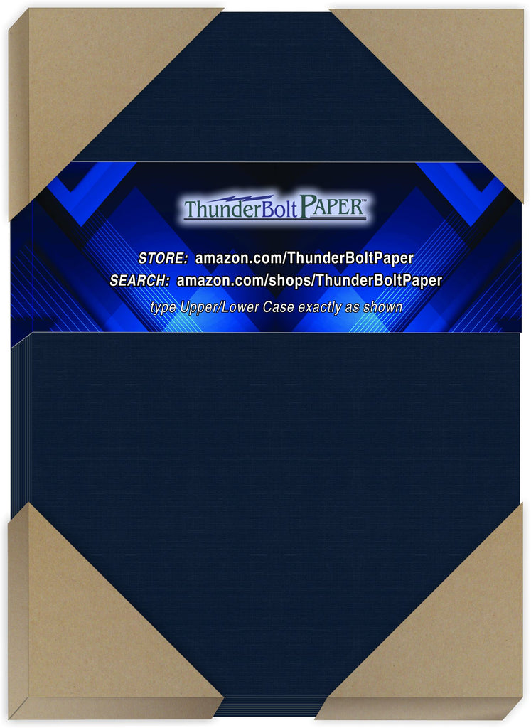 "100 Dark Navy Blue Linen 80# Cover Paper Sheets - 5"" X 7"" (5X7 Inches) Photo