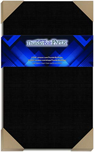 25 Black Linen 80# Cover Paper Sheets - 8.5X14 Inches Legal | Menu Size - Card Weight - Deep Dye, Fine Linen Textured Finish - Quality Cardstock
