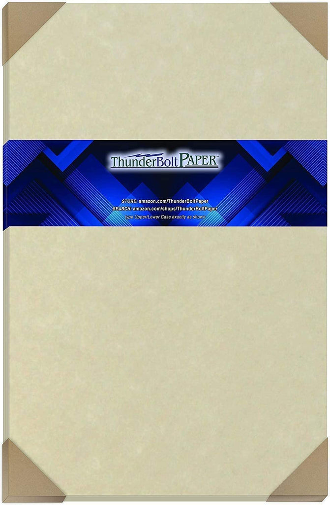 "100 Natural Parchment 60# Text (=24# Bond) Paper Sheets - 11"" X 17"" (11X17 Inches) Tabloid