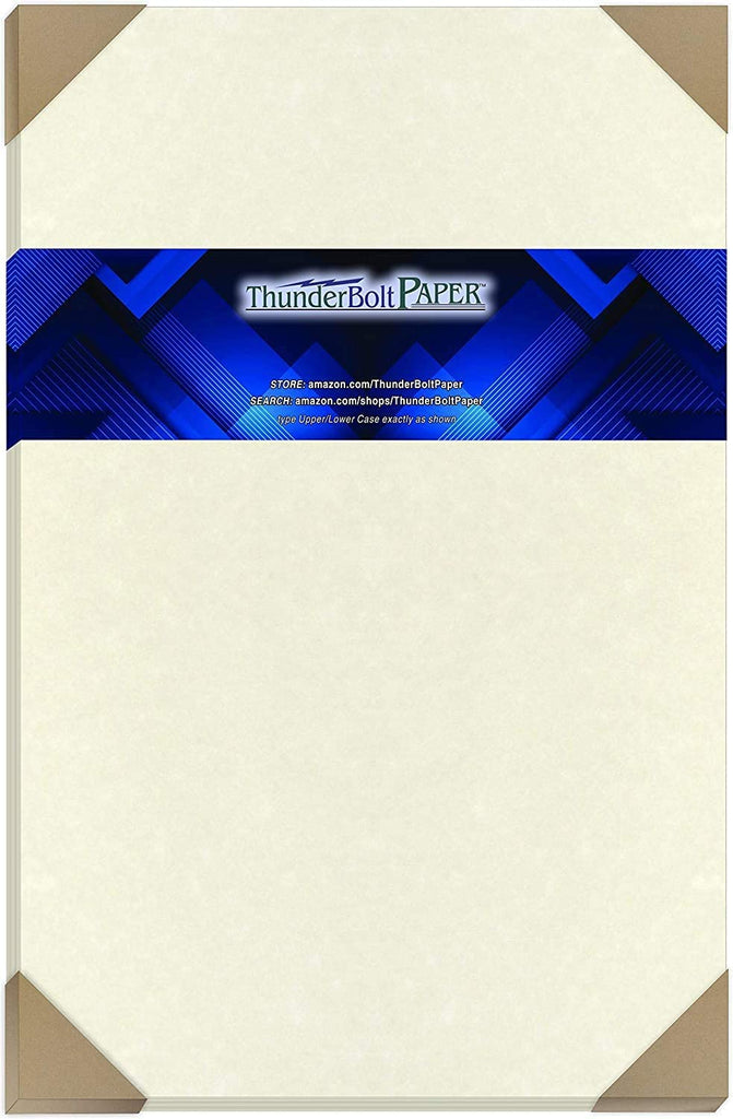 "50 Soft White Parchment 60# Text (=24# Bond) Paper Sheets - 11"" X 17"" (11X17 Inches) Tabloid