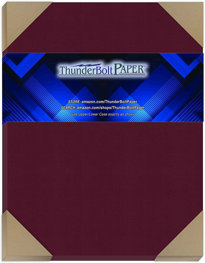 "50 Dark Burgundy Linen 80# Cover Paper Sheets - 8.5"" X 11"" (8.5X11 Inches) Standard Letter