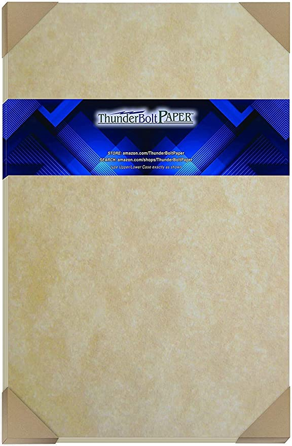 "100 Old Age Parchment 60# Text (=24# Bond) Paper Sheets - 11"" X 17"" (11X17 Inches) Tabloid