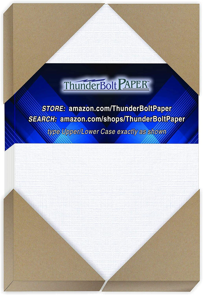 "300 Bright White Linen 80# Cover Paper Sheets - 5"" X 7"" (5X7 Inches) Photo