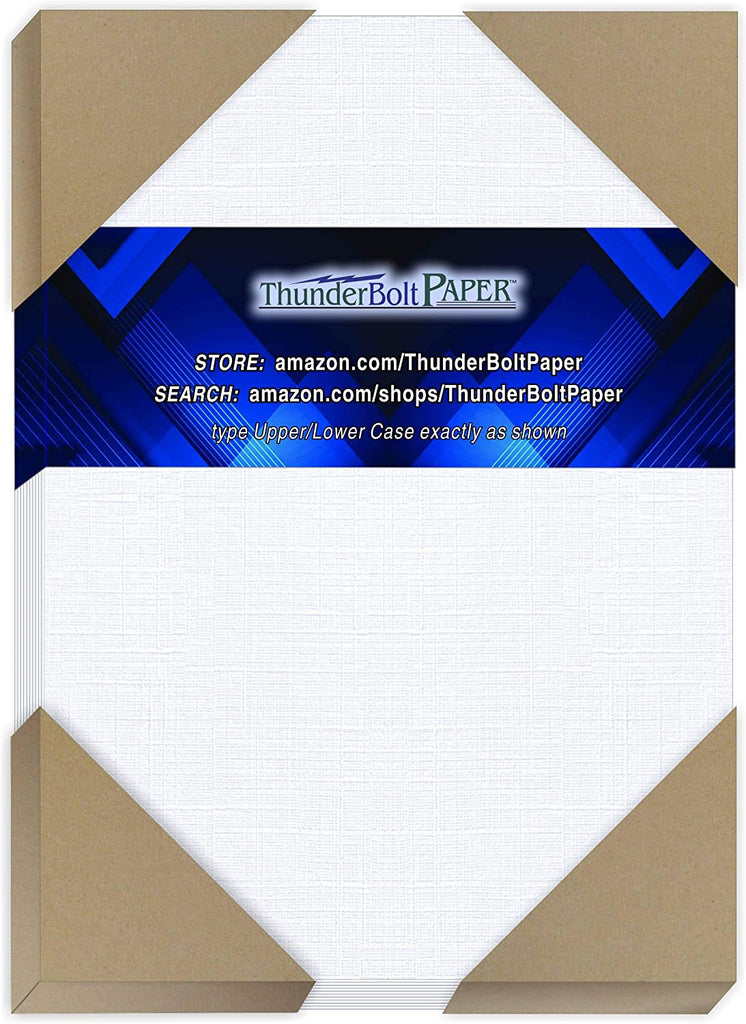 "100 Bright White Linen 80# Cover Paper Sheets - 4.5 X 6.5 Inches Invitation 1/2"" Smaller Than 5X7 Size - 80 lb/Pound Card Weight - Fine Linen Textured Finish"