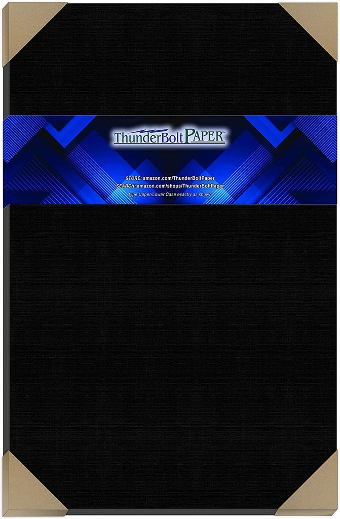 "35 Black Linen 80# Cover Paper Sheets - 12"" X 18"" (12X18 Inches) Large