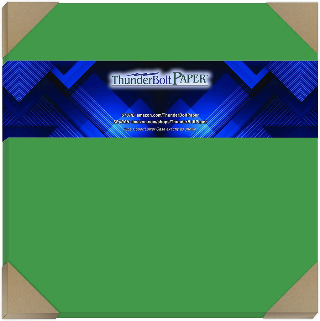 "50 Bright Green Cardstock 65lb Cover Paper 11"" X 17"" Colored Sheets Tabloid or Ledger Size -Bright Colors by ThunderBolt Paper"