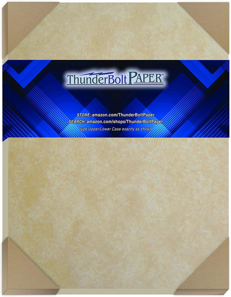100 Old Age Parchment Paper for Writing - 60# Text (=24# Bond) Sheets - 8.5 X 11 Inches Standard Letter Flyer Size - Not Card Weight - Vintage Colored Old Parchment Look