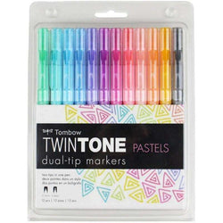 Tombow Twintone Marker Set 12/Pkg Pastels - A Plus Craft