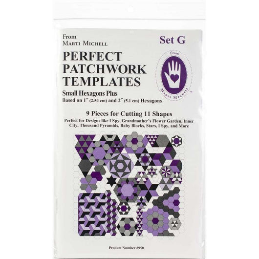 Marti Michell Perfect Patchwork Template Set G - Small Hexagon Set 9/Pkg - A Plus Craft