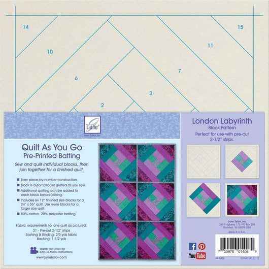June Tailor Quilt As You Go Printed Quilt Blocks On Batting London Labyrinth - A Plus Craft