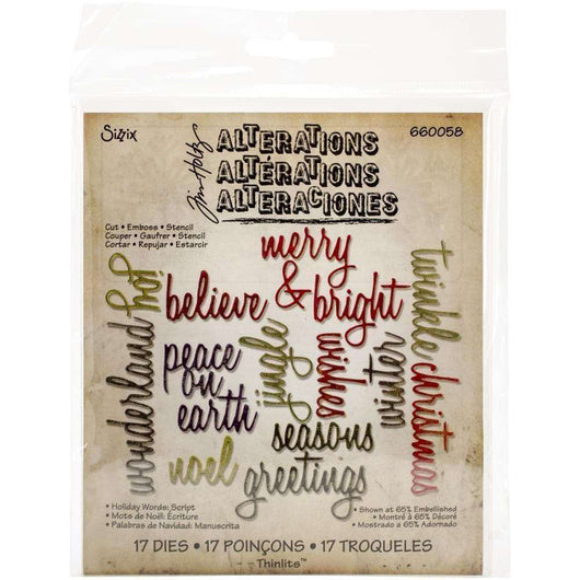 Sizzix Thinlits Dies By Tim Holtz 17/Pkg Script Holiday Words - A Plus Craft