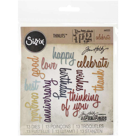 Sizzix Thinlits Dies By Tim Holtz 13/Pkg Celebration Script Words - A Plus Craft