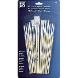 White Nylon Brush Set 12/Pkg - A Plus Craft