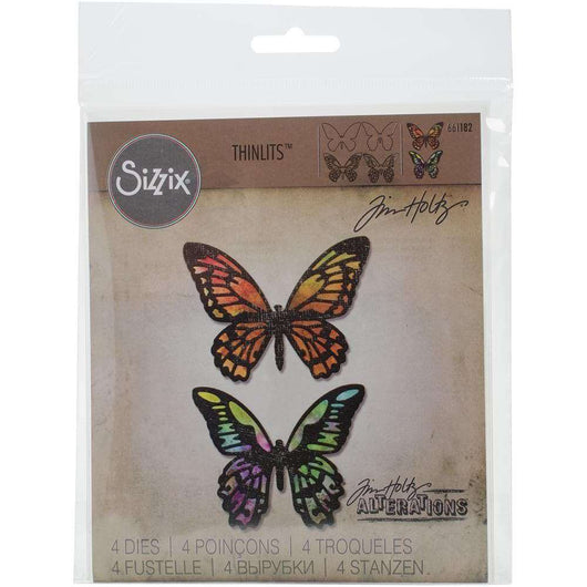 Sizzix Thinlits Dies By Tim Holtz 4/Pkg Detailed Butterflies - A Plus Craft