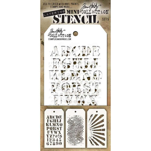 Tim Holtz Mini Layered Stencil Set 3/Pkg Set #5 - A Plus Craft