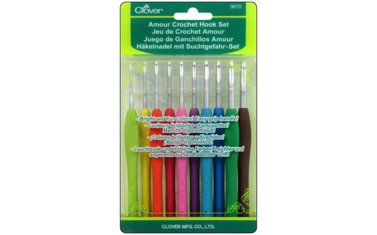 Clover Amour Crochet Hook Set 10pc - A Plus Craft