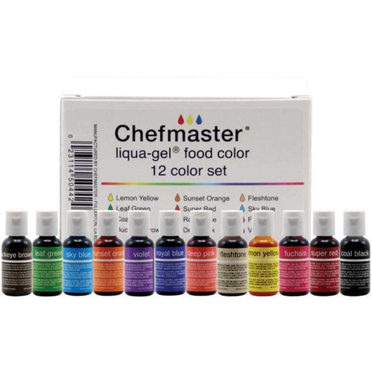 Chefmaster Liqua-Gel Color Kit 12/Pkg .7oz - A Plus Craft
