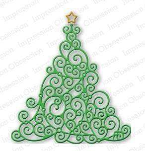Impression Obsession dies Swirly Christmas Tree - A Plus Craft