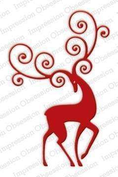 Impression Obsession dies Reindeer Flourish - A Plus Craft