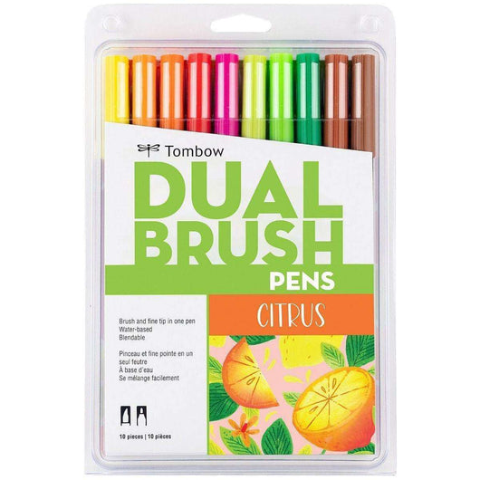 Tombow Dual Brush Pen Art Markers, Citrus, 10-Pack - A Plus Craft