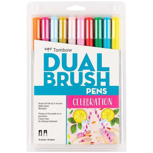 Tombow Dual Brush Pen Art Markers, Celebration, 10-Pack - A Plus Craft