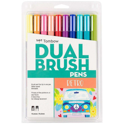 Tombow Dual Brush Pen Art Markers, Retro, 10-Pack - A Plus Craft