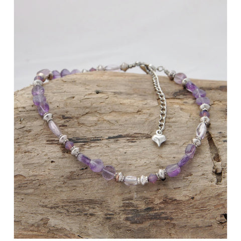 Purple bead anklet