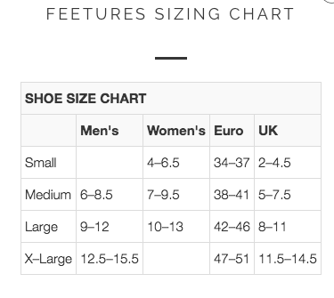 Feetures Sock Sizing