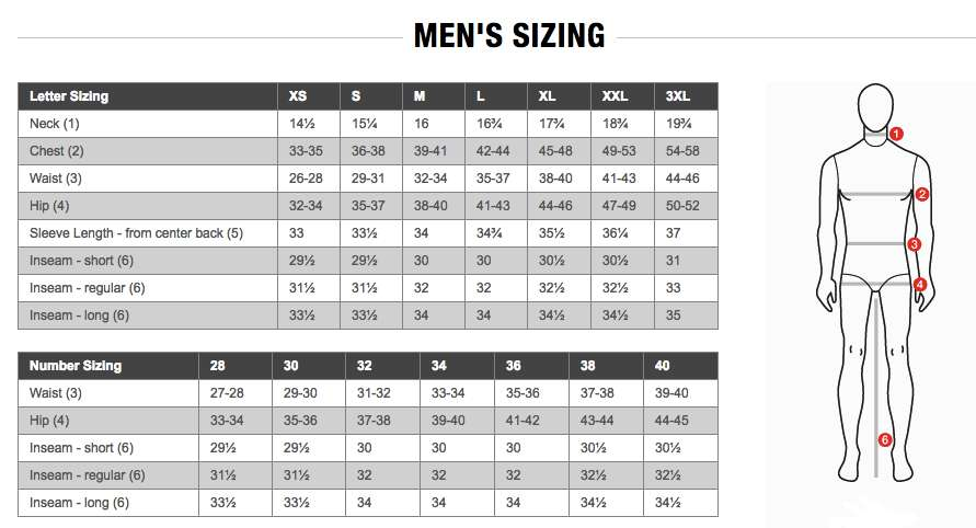 The North Face Mens Size Chart