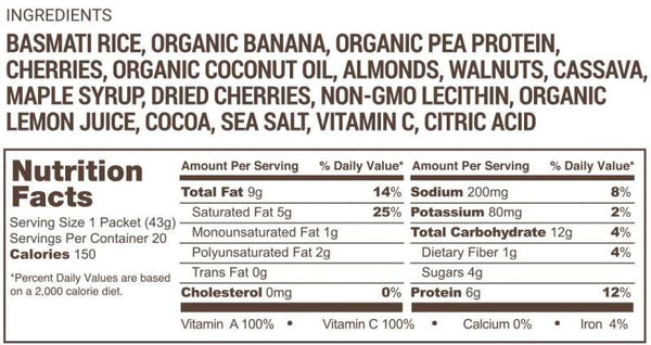 Ingredients & Nutritional Facts Spring Energy Gel McRaecovery
