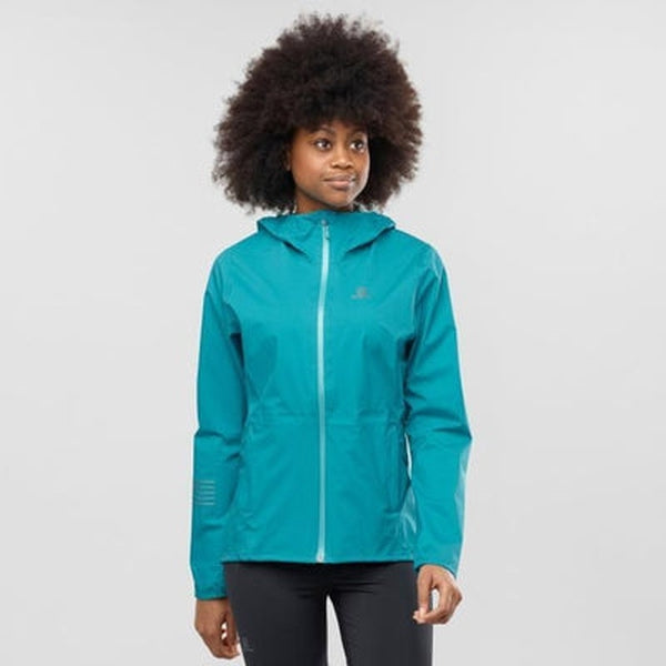 Salomon Womens Lightning Waterproof Jacket-Tile Blue-Blue Mountains Running Company