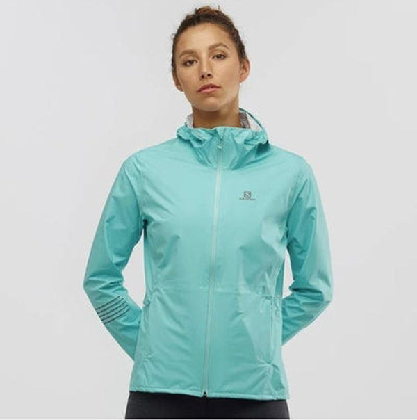 Salomon Womens Lightning Waterproof Jacket-Meadowbrook-Blue Mountains Running Company