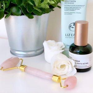 Rose Quartz Jade Face and Eye Massage Double Head Roller