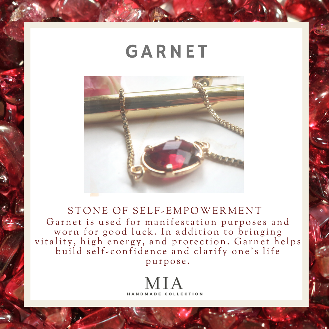 Garnet Gemstone Handmade Gold Bracelets | January and July Birthstone