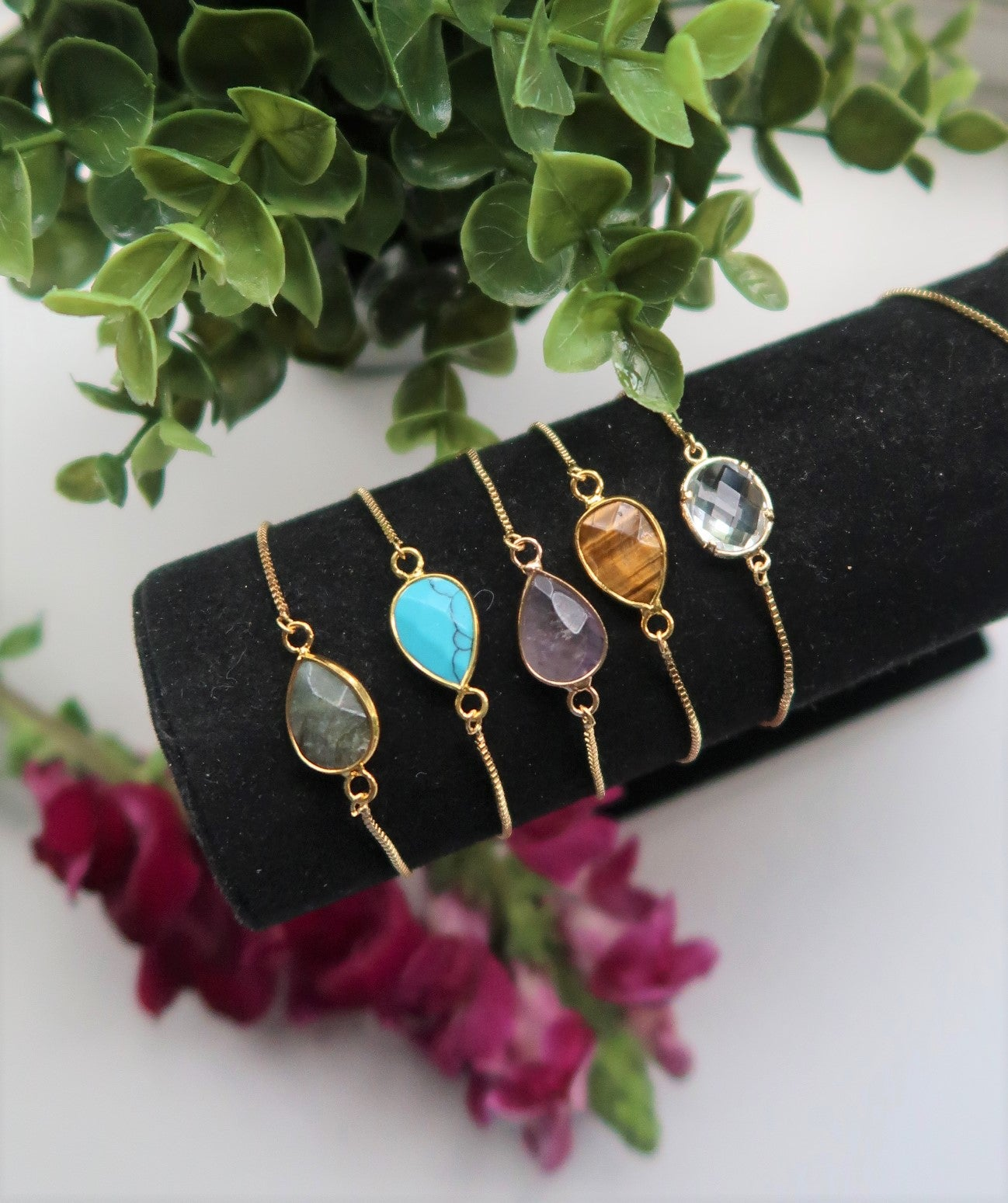 Modern Gemstone Birthstone Handmade Gold Bracelet, Jewellery, Bridal Party Proposal