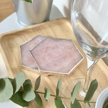 Load image into Gallery viewer, Hexagon Rose Quartz Natural Crystal Coaster | Pink Agate Coasters Gemstone Tableware |