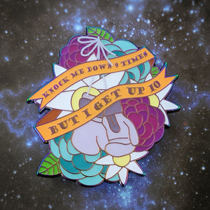 I Get Up soft enamel pin with epoxy (purple/rainbow version)