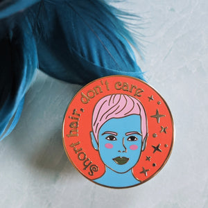 Pixie Hair Don't Care hard enamel pin