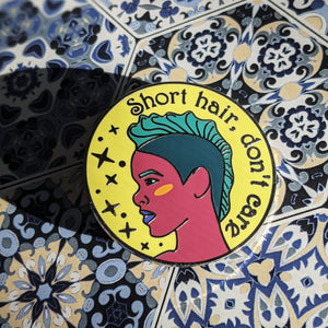 Spiked Hair Don't Care hard enamel pin