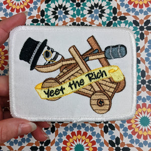 Yeet the Capitalists iron-on patch (rectangular version)