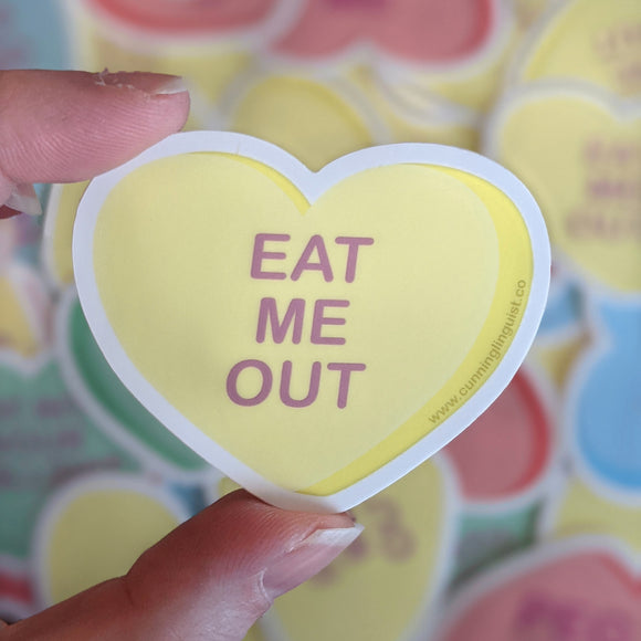Eat Me Out heart candy sticker
