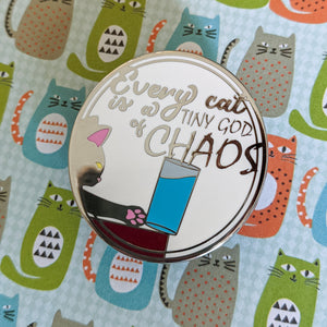 Chaos Cat hard enamel pin (white/silver version)