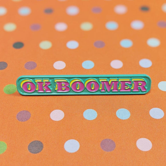 OK Boomer soft enamel pin (teal/pink version)