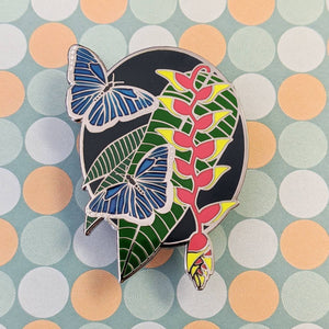 Blue Morpho hard enamel pin benefiting Rainforest Foundation US