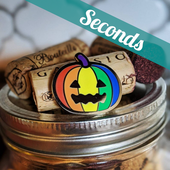 Queer-o-Lantern (LGBTQIA+ pride) hard enamel pin – SECONDS